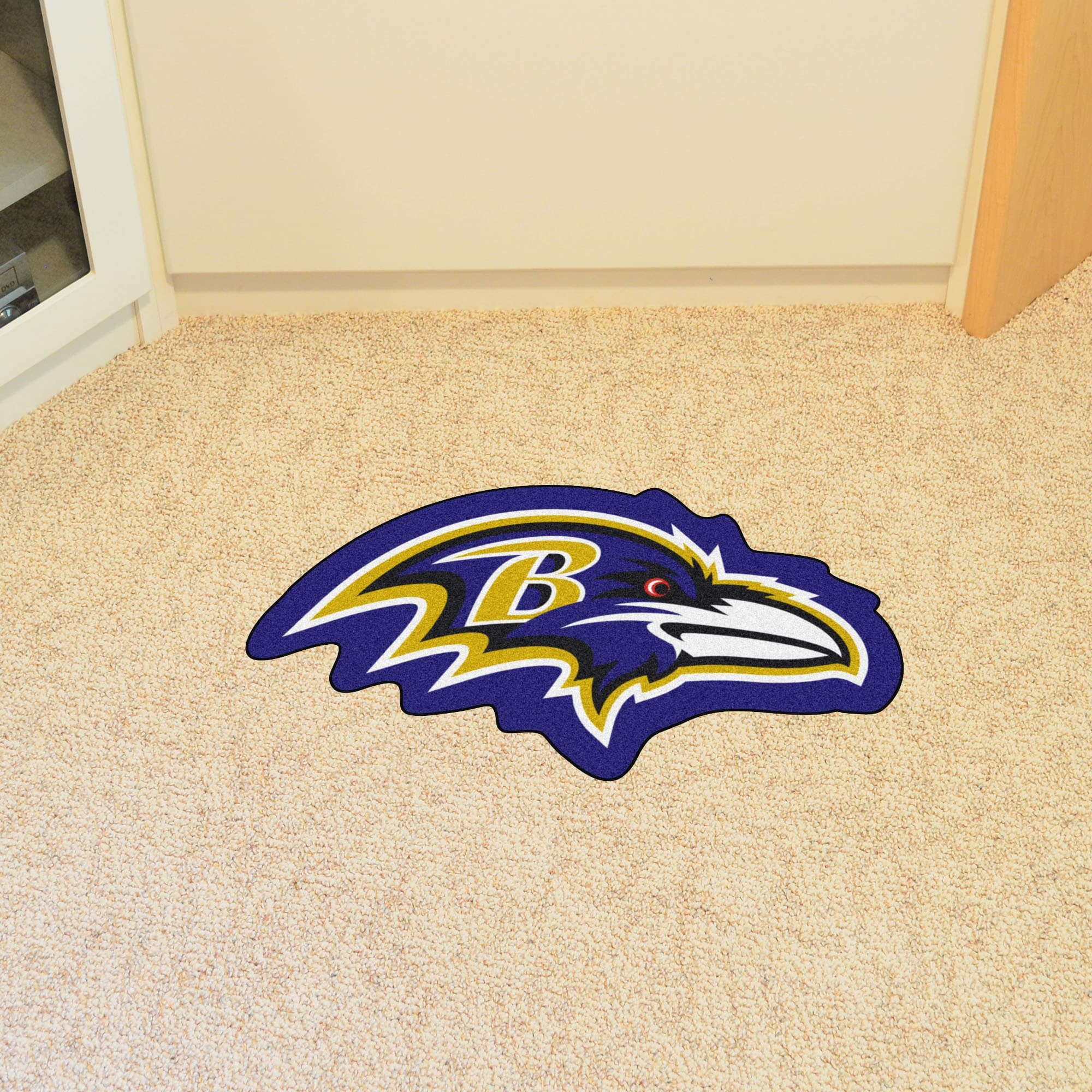333efee8 NFL Baltimore Ravens Mascot Novelty Logo Shaped Area Rug - N/A
