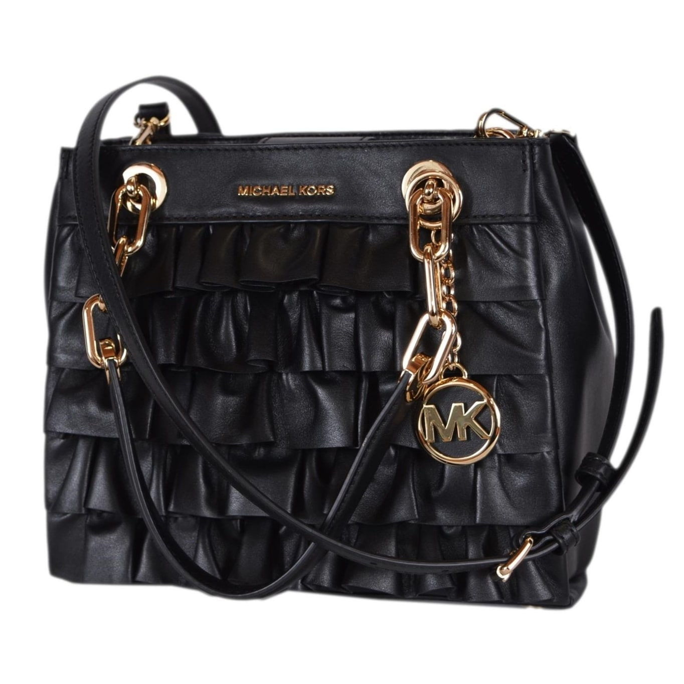 31893fe85e9d Shop Michael Kors Small Black Leather Ruffled Cynthia Satchel Purse Handbag  - Free Shipping Today - Overstock - 22807534