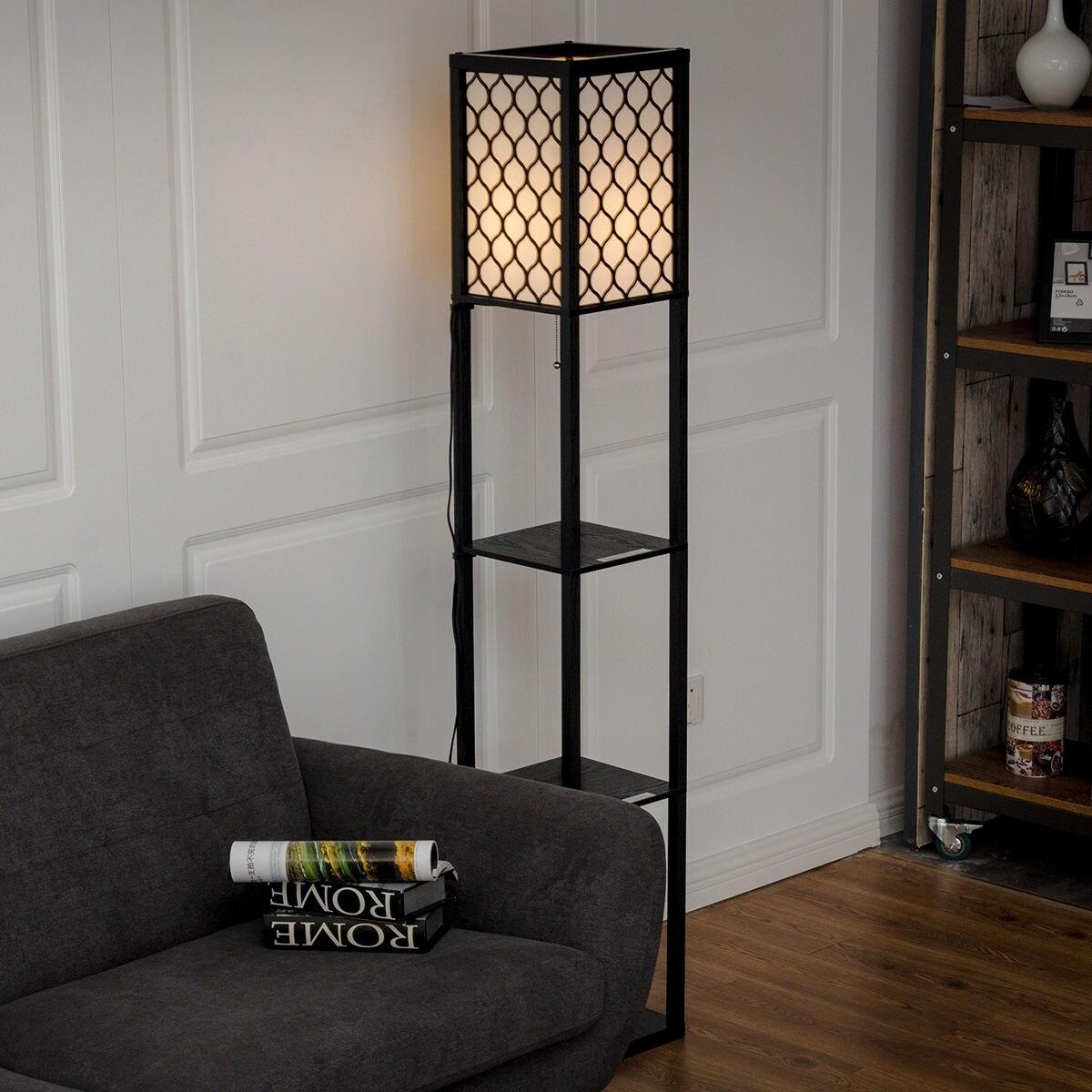 Shop Costway 63u0027u0027 Modern Shelf Floor Lamp Lighting Home Living Room W/ 3  Storage Shelves   As Pic   Free Shipping Today   Overstock.com   18298249