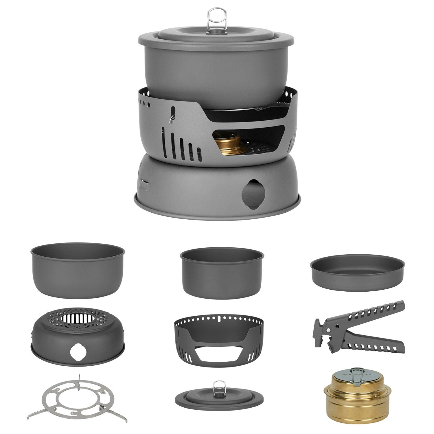 Winterial Camping Cookware With Alcohol Burner / 9 piece / Backpacking / Camping / Cooking / 2.1 lbs