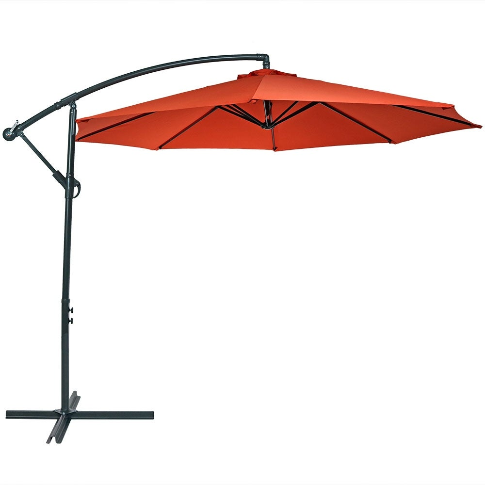 Shop Sunnydaze Steel Foot Offset Patio Umbrella With Cantilever Crank And  Cross Base Steel Ribs Free