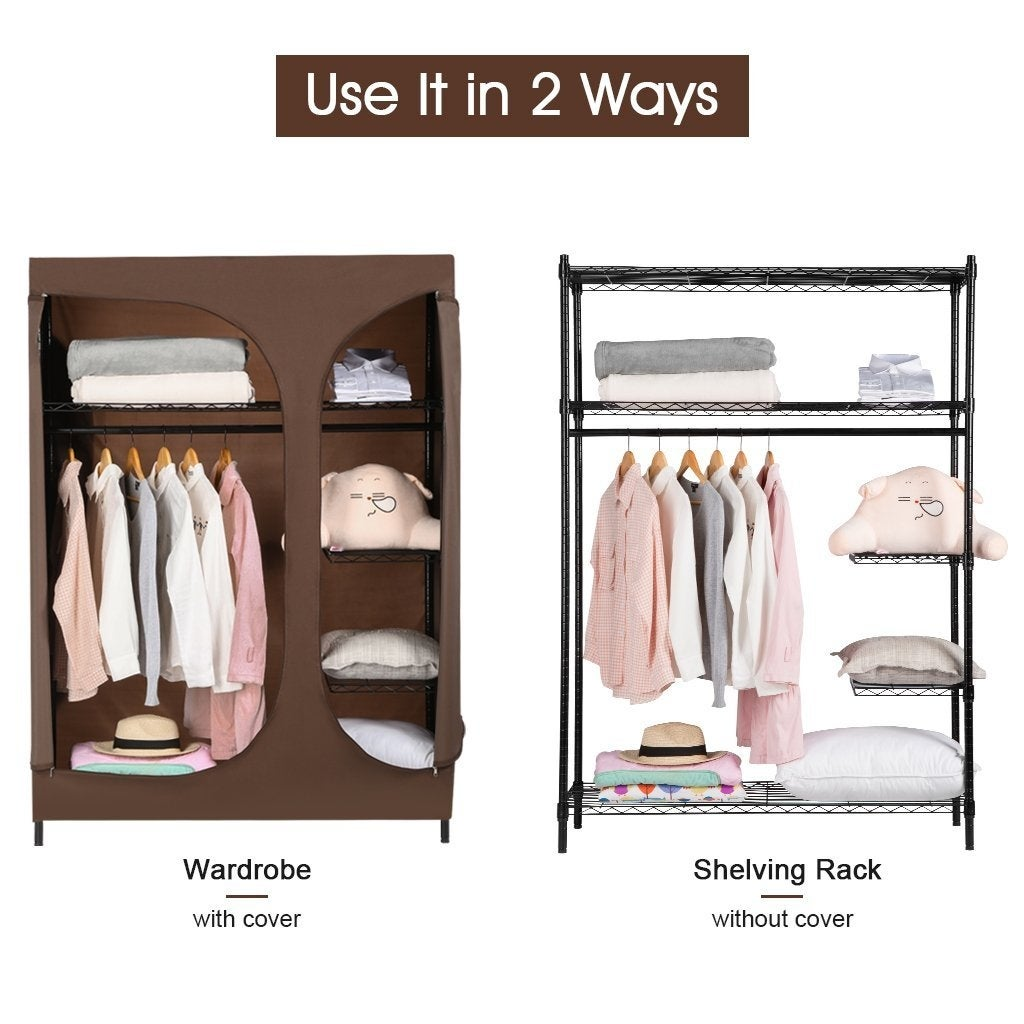 Shop LANGRIA Heavy Duty 420lbs Wire Shelving Garment Rack Clothes Closet  Wardrobe Storage Organizer With Brown Cloth Cover   Free Shipping Today ...