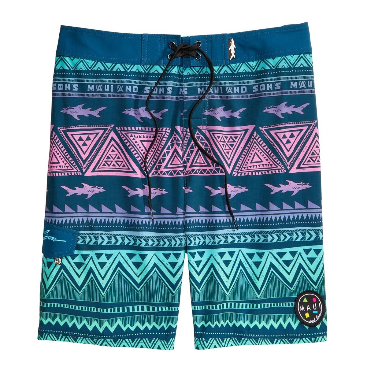 9cc89e83ce Shop Maui and Sons Mens Surfside Graphic Swimwear Swim Trunks - 34 - Free  Shipping On Orders Over $45 - Overstock - 26566332