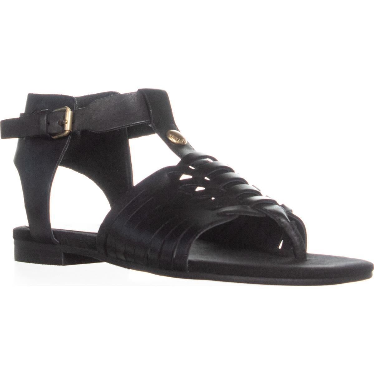 d3c8314fea325 Shop Marc Fisher Lea Flat Thong Sandals, Black Leather - 8 US - Free ...