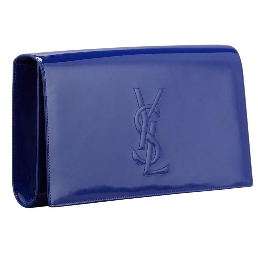 6d8940e37cd4 Shop Saint Laurent YSL 361120 Blue Patent Leather Large Belle de Jour  Clutch Bag - Free Shipping Today - Overstock - 11775285