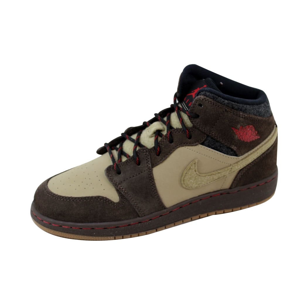 ccda10545c9bcb Shop Nike Air Jordan I 1 Mid Premium BG Baroque Brown Gym Red-Khaki-Black  619049-205 Grade-School - On Sale - Free Shipping Today - Overstock -  20617761