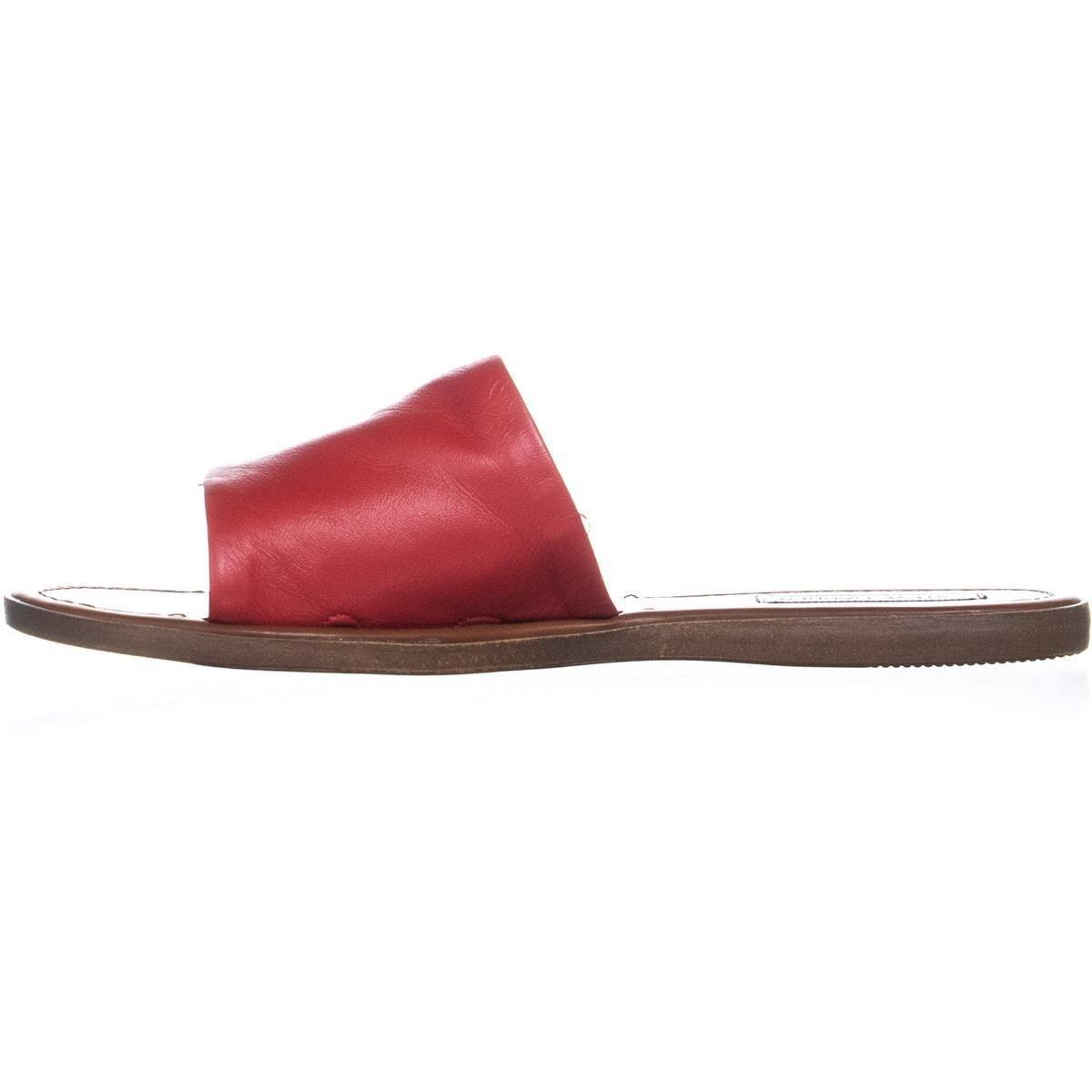 c4d03bb0ddf Steve Madden Camilla Flat Slide Sandals, Red Leather - 8.5 US