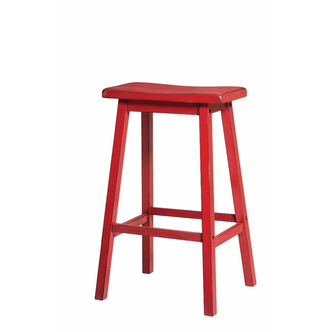 Pleasing Wooden Bar Stool Set 2 Antique Red Evergreenethics Interior Chair Design Evergreenethicsorg