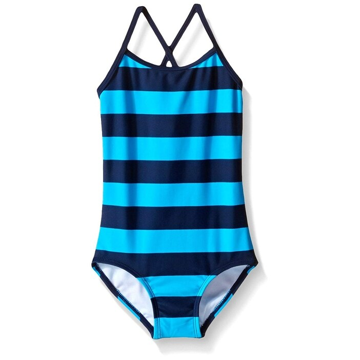 c9f36c9ffc065 Shop Kanu Navy Blue Girls Size 12 One Piece Stripe Swimsuit Swimwear - Free  Shipping On Orders Over $45 - Overstock - 28071696