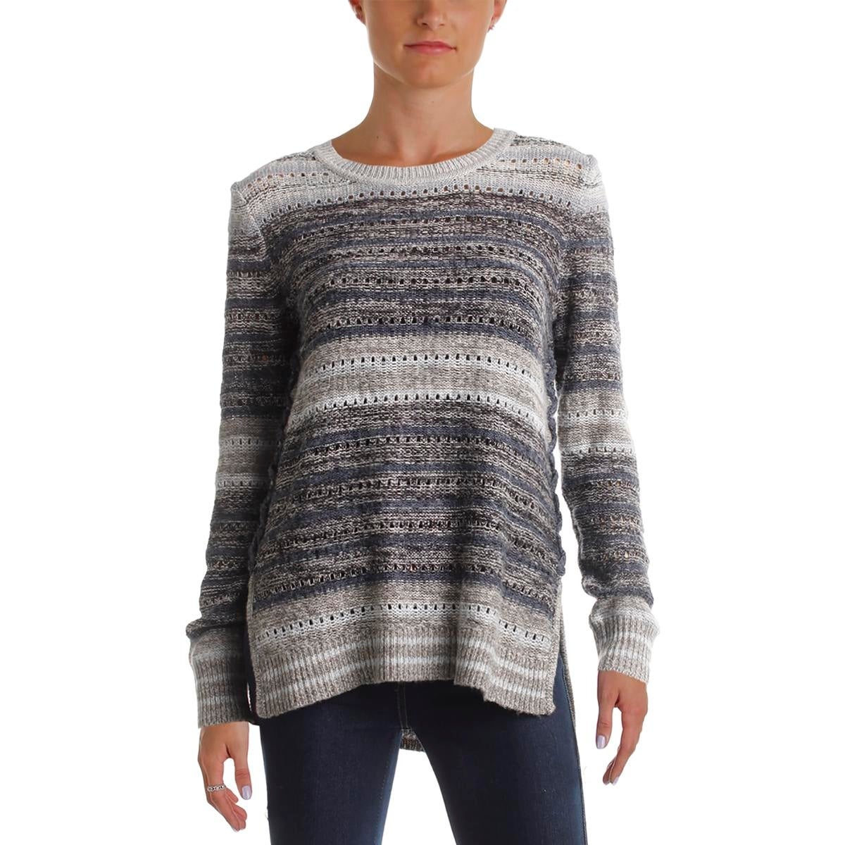 b16aa5aa9ba25 Shop Lucky Brand Womens Pullover Sweater Crochet Striped - Free Shipping On  Orders Over  45 - Overstock.com - 20254664