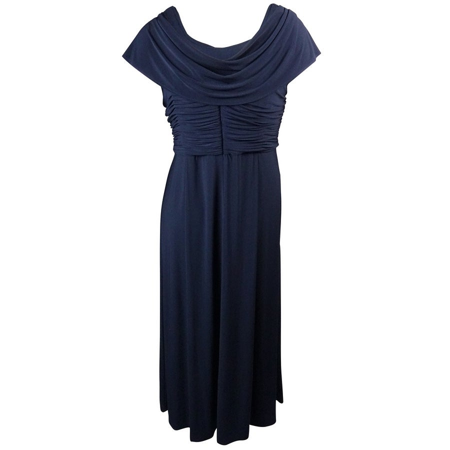 Patra Womens Cowl Neck Ruched Beaded Jersey Dress Plum 18