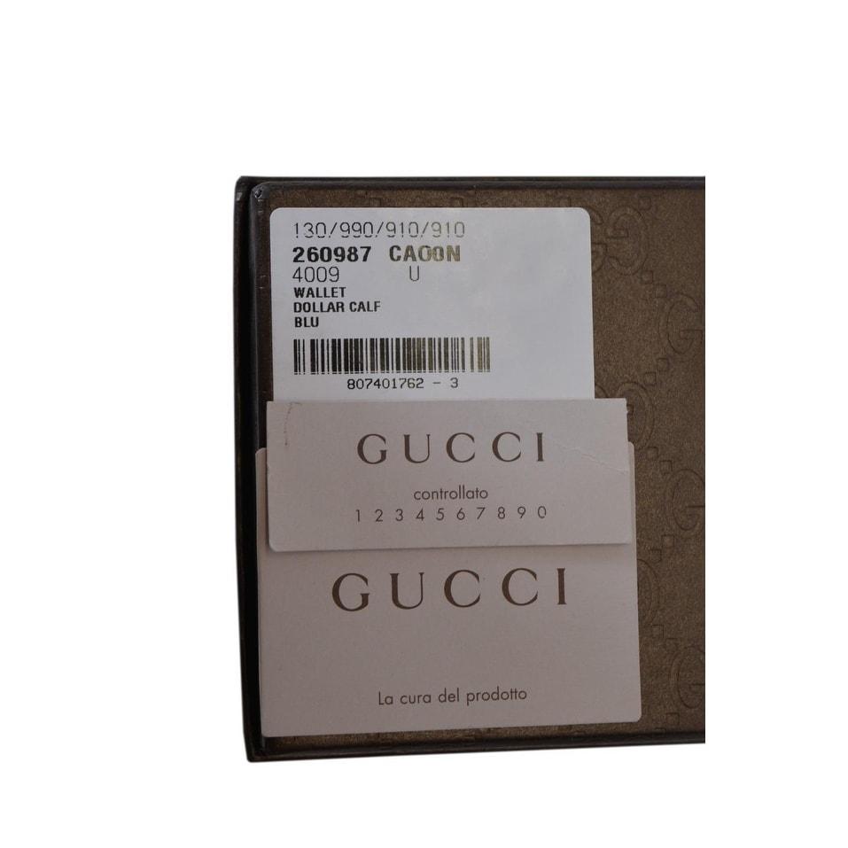 64b1898e9ffa27 Shop Gucci Men's 260987 4009 Blue Leather Trademark Logo Bifold Wallet -  4.5