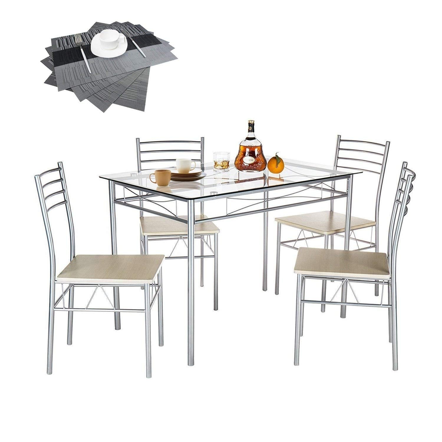 Vecelo Gl Dining Table Set With 4 Chairs Kitchen Free Shipping Today 13023443