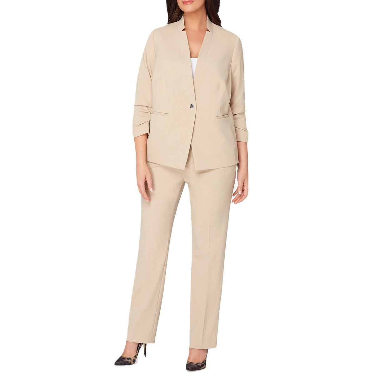 08bf84e8f56 Shop Tahari ASL Plus Size Ruched 3 4 Sleeve Jacket Pant Suit Beige - 20W -  Free Shipping Today - Overstock.com - 19664286