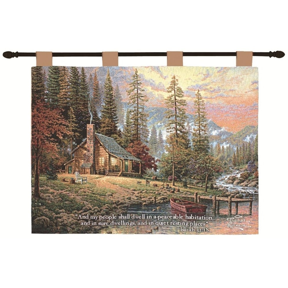 Thomas Kinkade Peace Retreat Pictorial Religious Verse Wall Art Hanging Tapestry 26 X 36 Multi