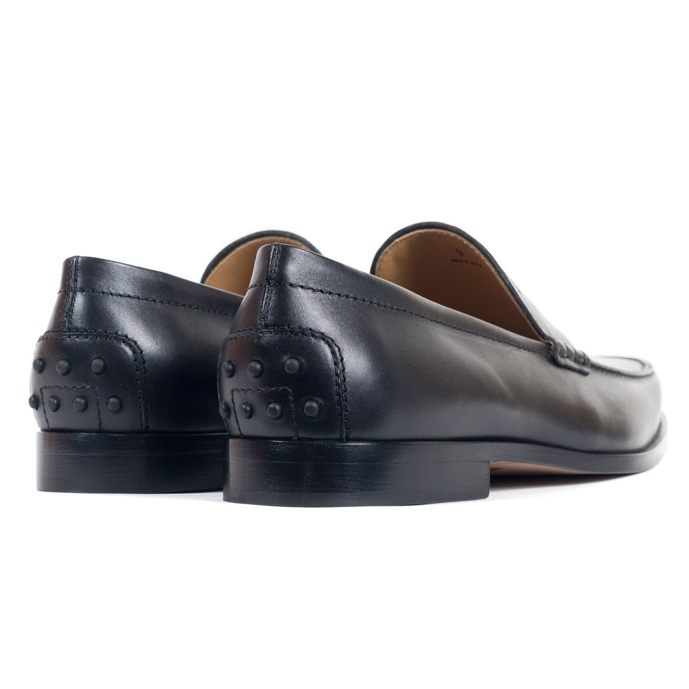 18b0f00bcb1 Shop Tods Mens Classic Matte Black Leather Penny Loafers - Free Shipping  Today - Overstock - 21214869
