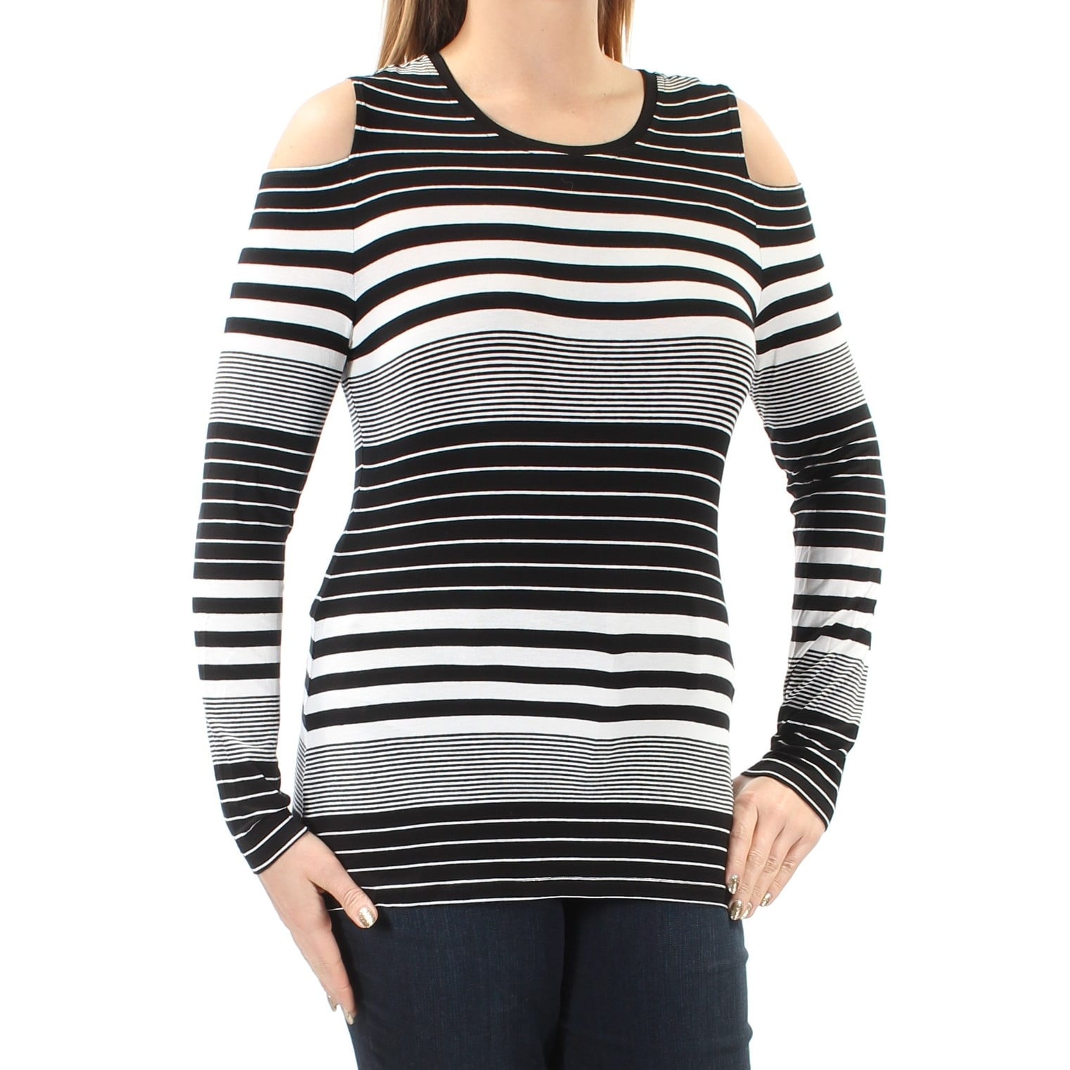 0dfabd87bcd Womens Long Sleeve Black And White Striped Shirt - raveitsafe