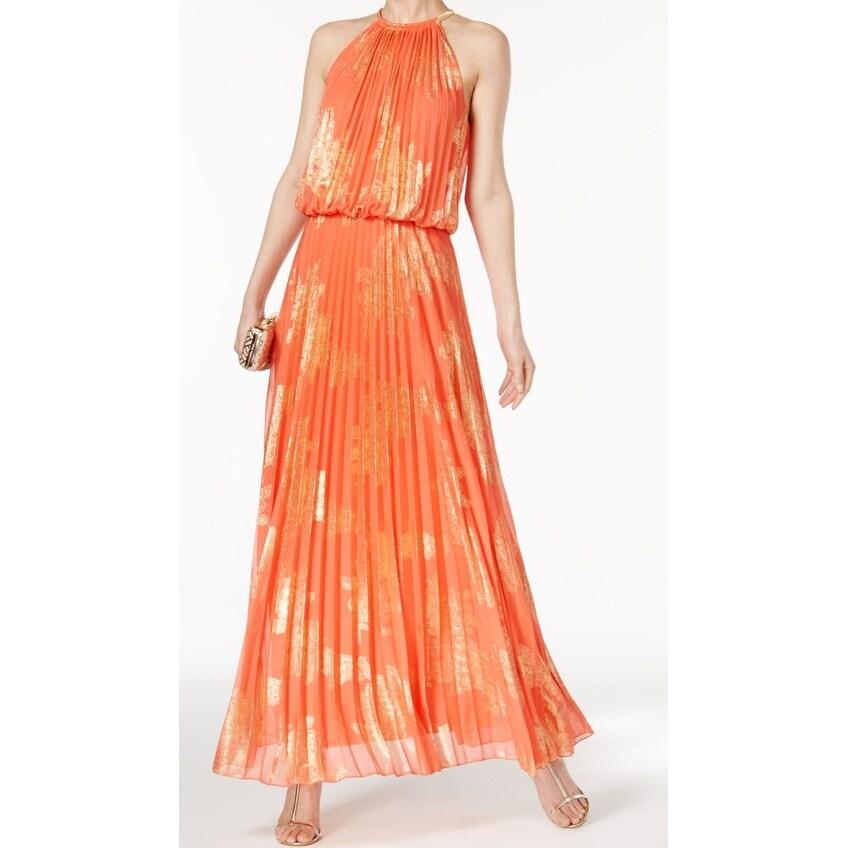 MSK Orange Gold Womens Size 8 Halter Floral Metallic Gown Dress ...