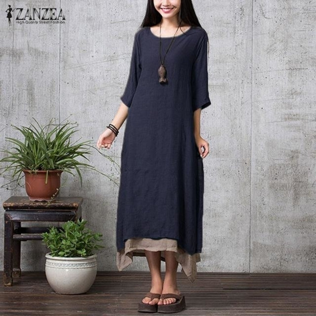 8fa35c9f72d ZANZEA Fashion Cotton Linen Vintage Dress 2017 Summer Autumn Women Casual Loose  Boho Long Maxi Dresses Vestidos Plus Size