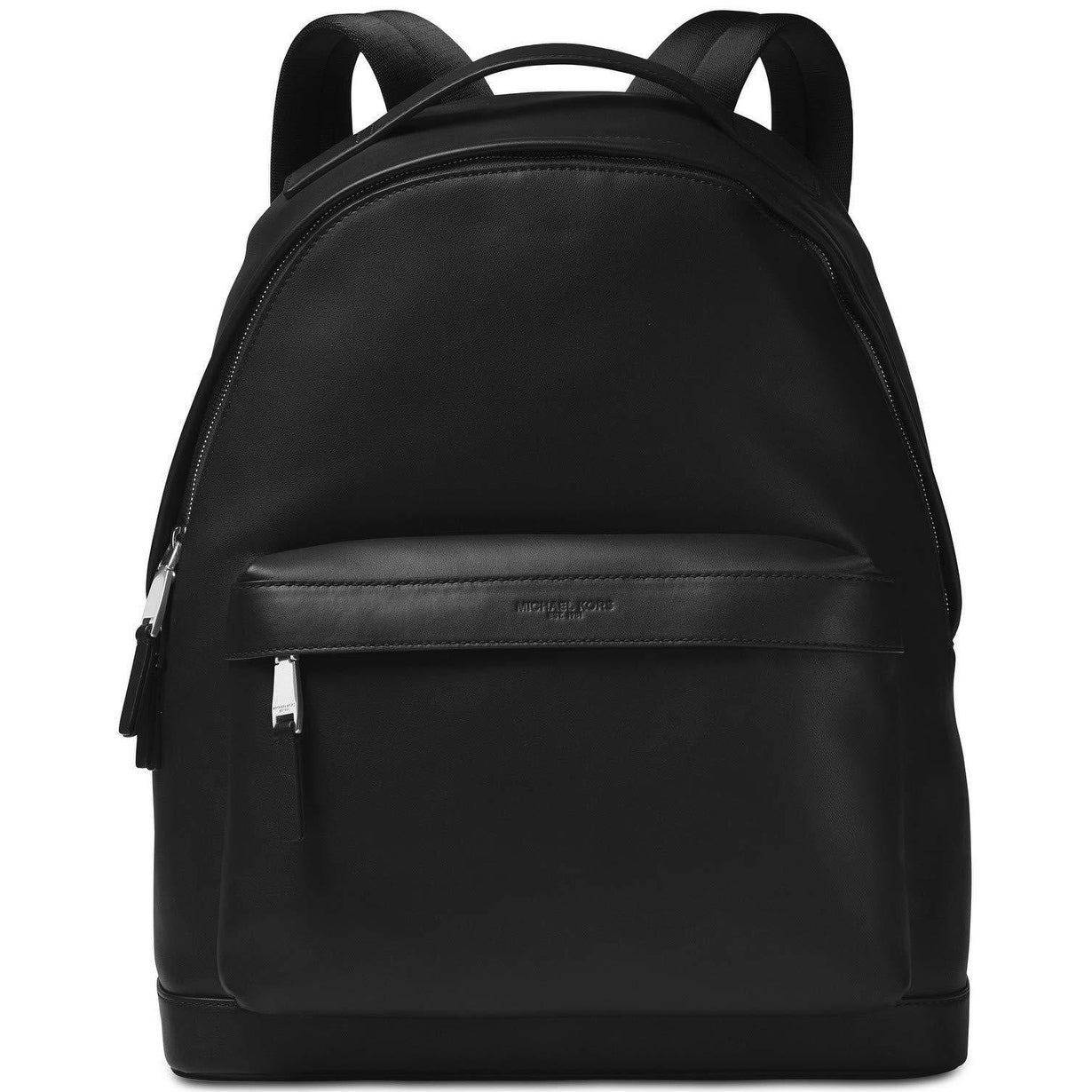 f83b4285ca01 Shop Michael Kors Black Solid Zip Odin Backpack Classic Leather Back ...