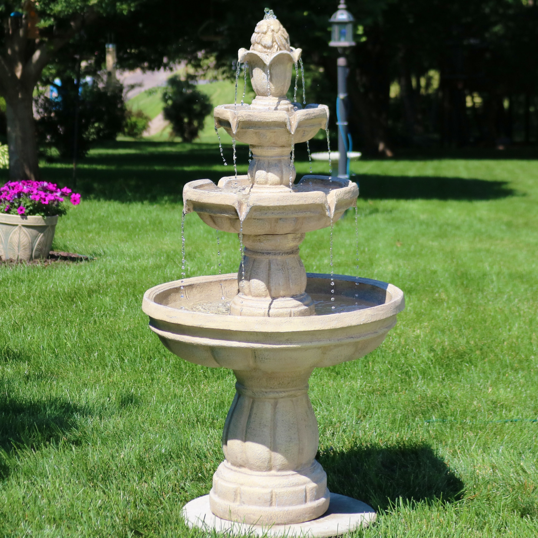 Shop sunnydaze 3 tier outdoor garden patio water fountain traditional 48 inch free shipping today overstock com 11594658