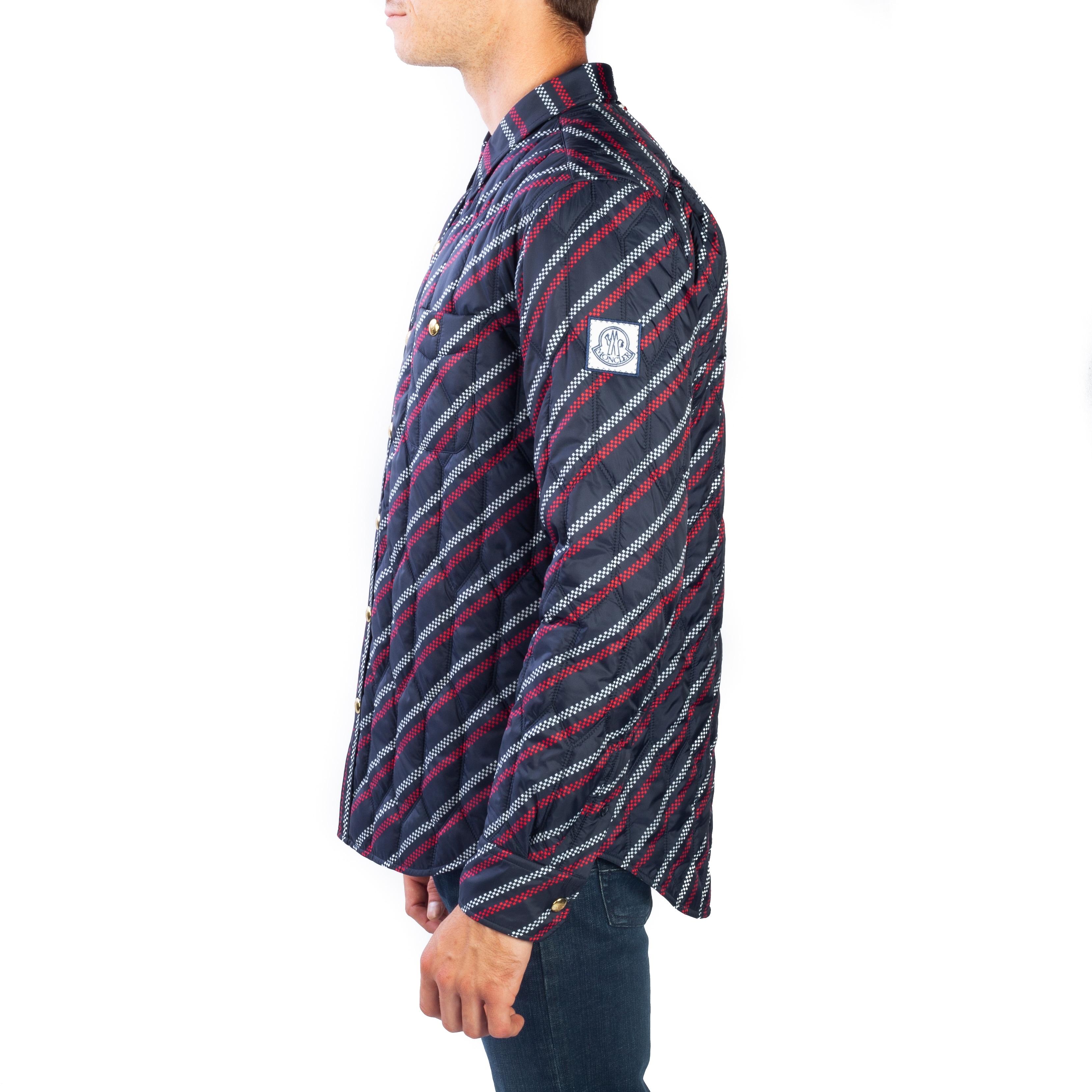 ded97470c5ab Shop Moncler Men s Polyester Checkered Stripe Down Jacket Navy Blue ...