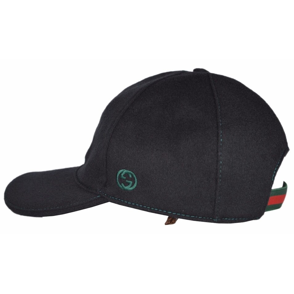 4c9e9f39f1f50d Shop Gucci 353505 Men's Black Felted Wool Red Green Band GG Baseball Cap Hat  Medium - Free Shipping Today - Overstock - 21498427