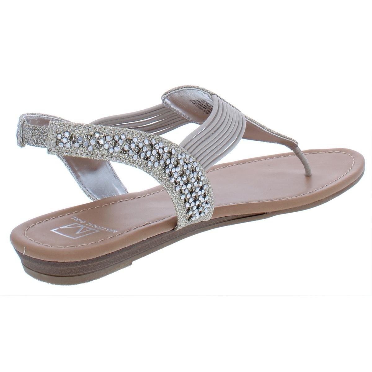 00bc34f7547 Shop Material Girl Womens Siera T-Strap Sandals Glitter Small Wedge - 9.5  Medium (B