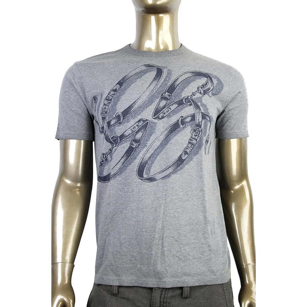 Shop Gucci Mens Cotton Graphic Top Horsebit Belt T Shirt 337660