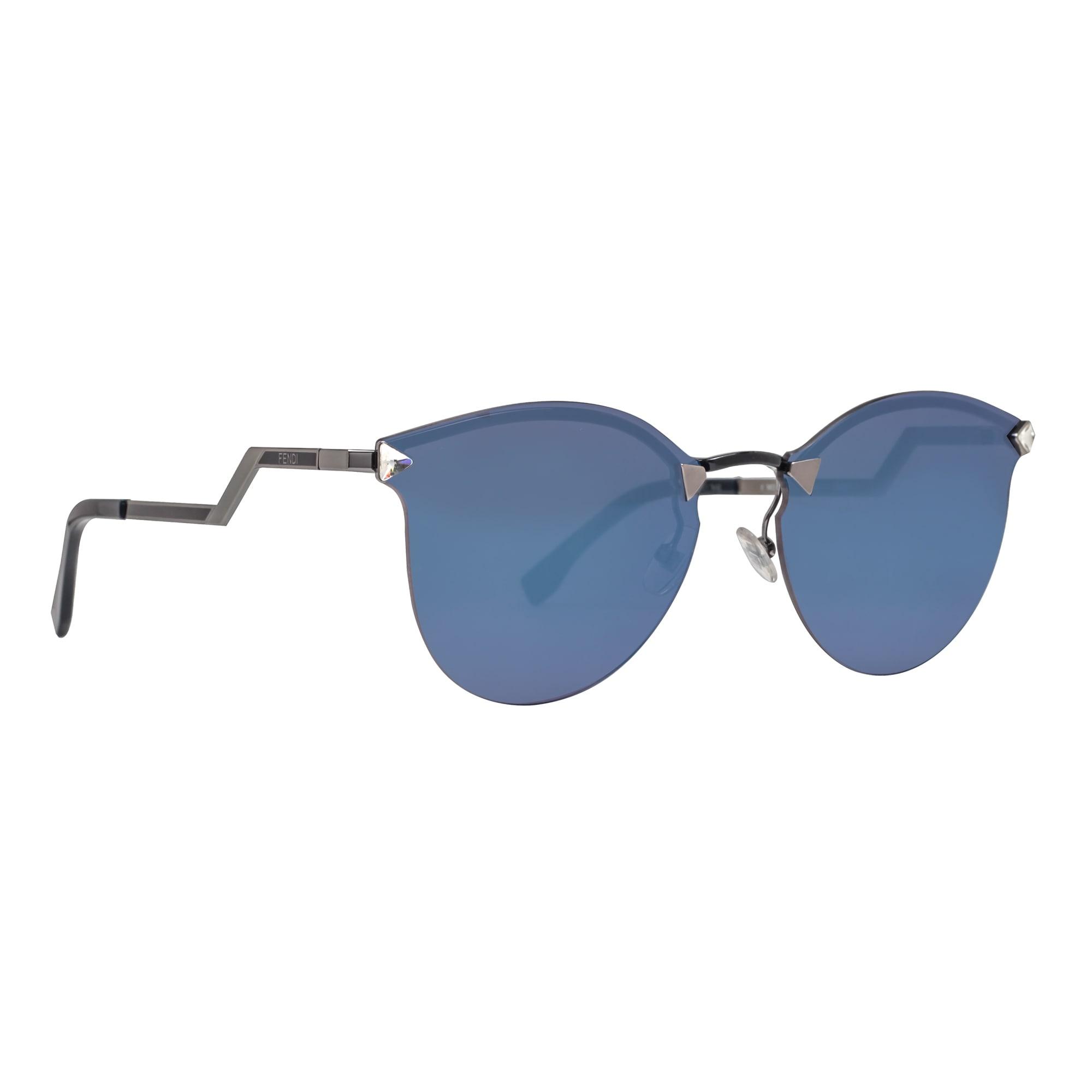 e6da19ef9b4 Shop Fendi FF 0040 S LQJ XT Rimless Black Blue Mirror Cat Eye Women s  Sunglasses - dark ruthenium   black - 60mm-17mm-135mm - Free Shipping Today  ...