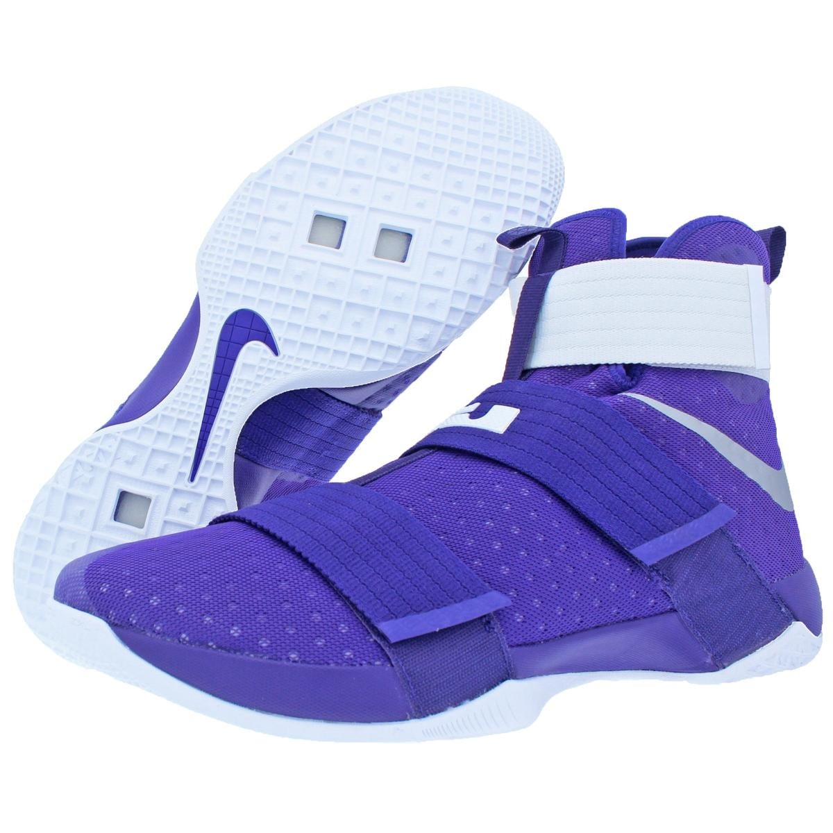 size 40 f5a47 7c30f Shop Nike LeBron Soldier 10 Men s Mesh High-Top Basketball Shoes Purple  Size 18 - 18 medium (d) - Free Shipping Today - Overstock - 22490961