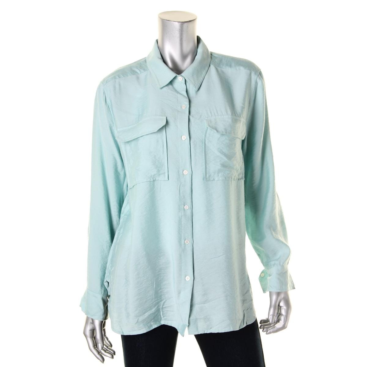 5485d9b8 Shop Two by Vince Camuto Womens Button-Down Top Oversized Long Sleeve - Free  Shipping On Orders Over $45 - Overstock.com - 14398210