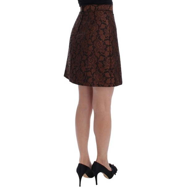 Shop Dolce   Gabbana Brown Floral Brocade Mini Bubble Skirt - it40-s - Free  Shipping Today - Overstock.com - 21411824 1066fbe075