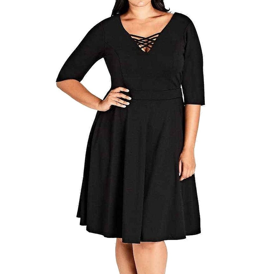 48411fe360ae Shop CITY CHIC Black Women s Size 14 Plus (XS) Cross-Neck Skater Dress - On  Sale - Free Shipping On Orders Over  45 - Overstock - 27331567