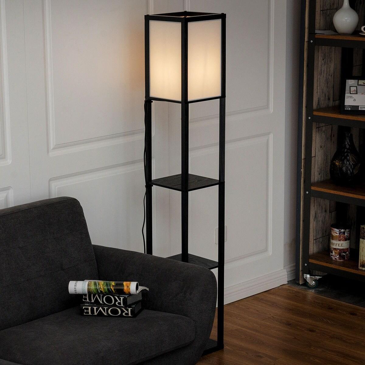 Shop Costway Modern Shelf Floor Lamp Lighting Home Living Room w/ 3 ...