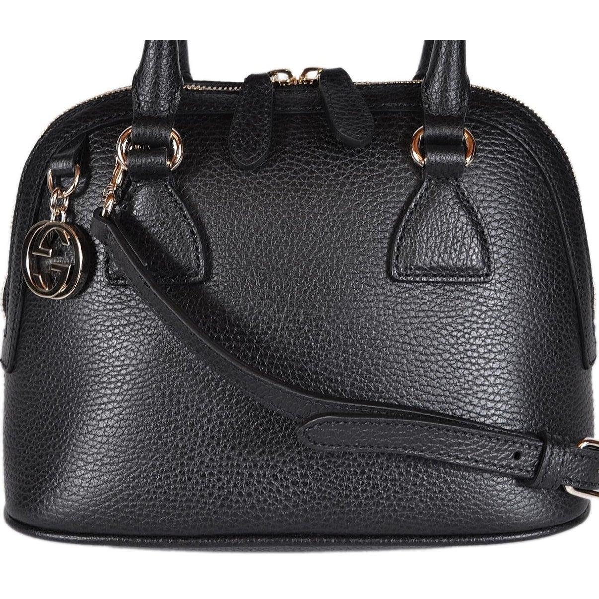 21c223c88 Shop Gucci 449661 Black Leather 2-Way Convertible GG Charm Small Dome Purse  - 9.06