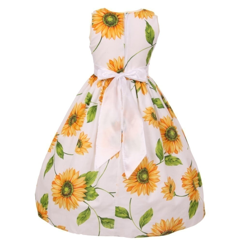 9a4b5f02dc375 Shop Little Girls Yellow Sunflower Print Bow Attached Flower Girl Dress  2T-6 - Free Shipping On Orders Over $45 - Overstock - 19292596