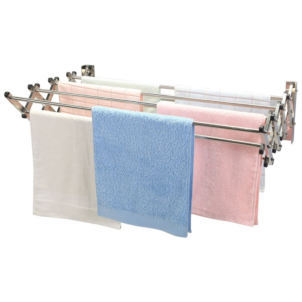 Shop Costway Stainless Wall Mounted Expandable Clothes Drying Towel ...