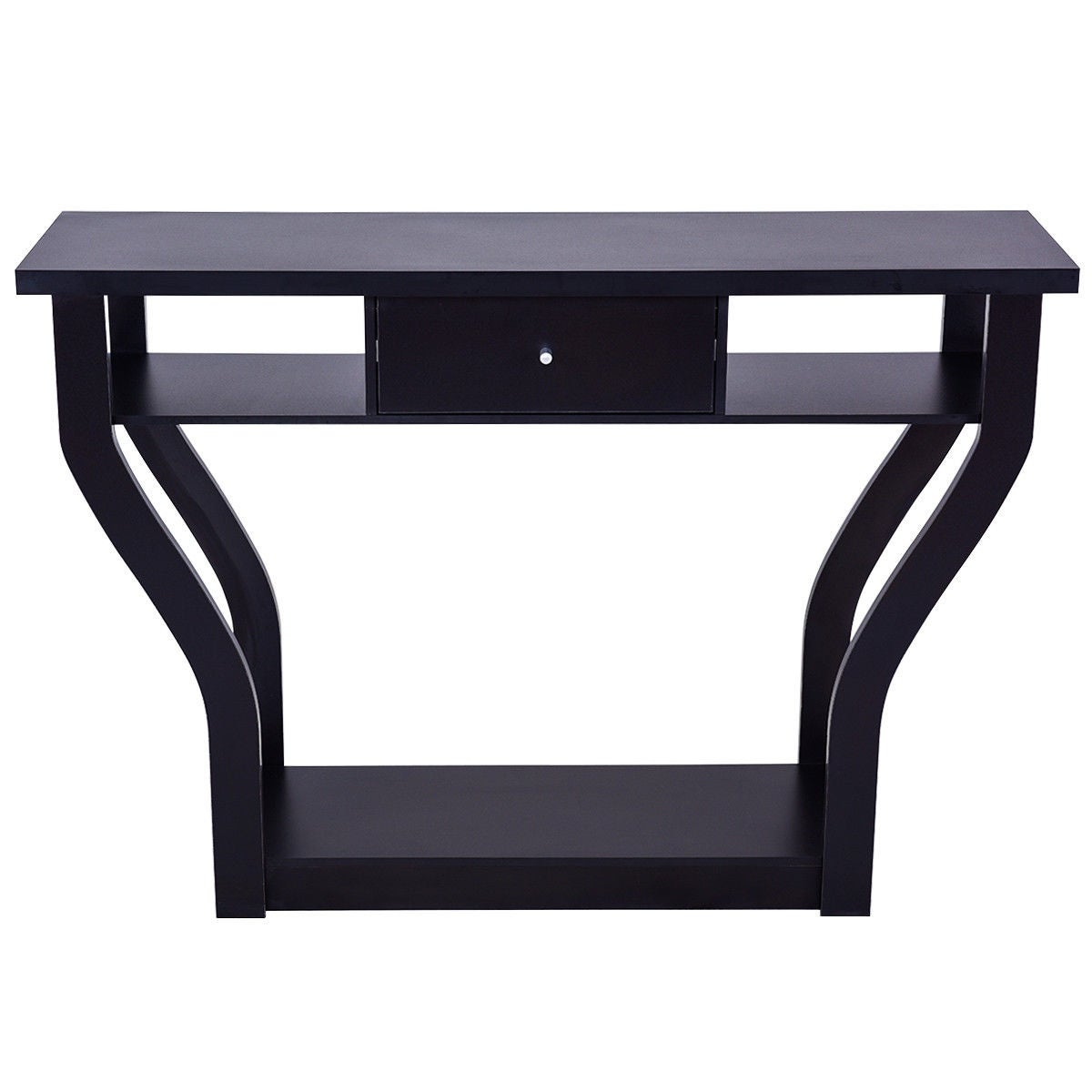 Shop costway black accent console table modern sofa entryway hallway hall furniture w drawer free shipping today overstock 20461930