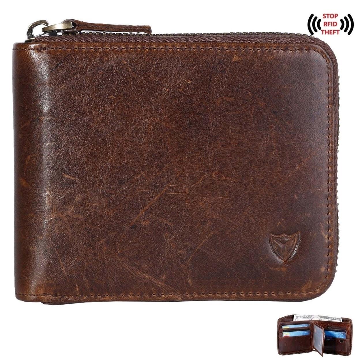 036049c15d682 Rfid Men S Leather Zipper Wallet Zip Around Wallet Bifold Multi Card Holder  Purse