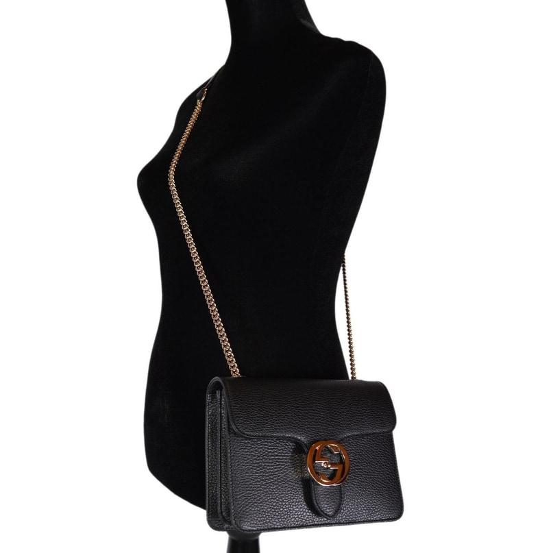 1e0baeb06 Shop Gucci Women's Black Leather 510304 Interlocking GG Crossbody Purse  Handbag - 7.75