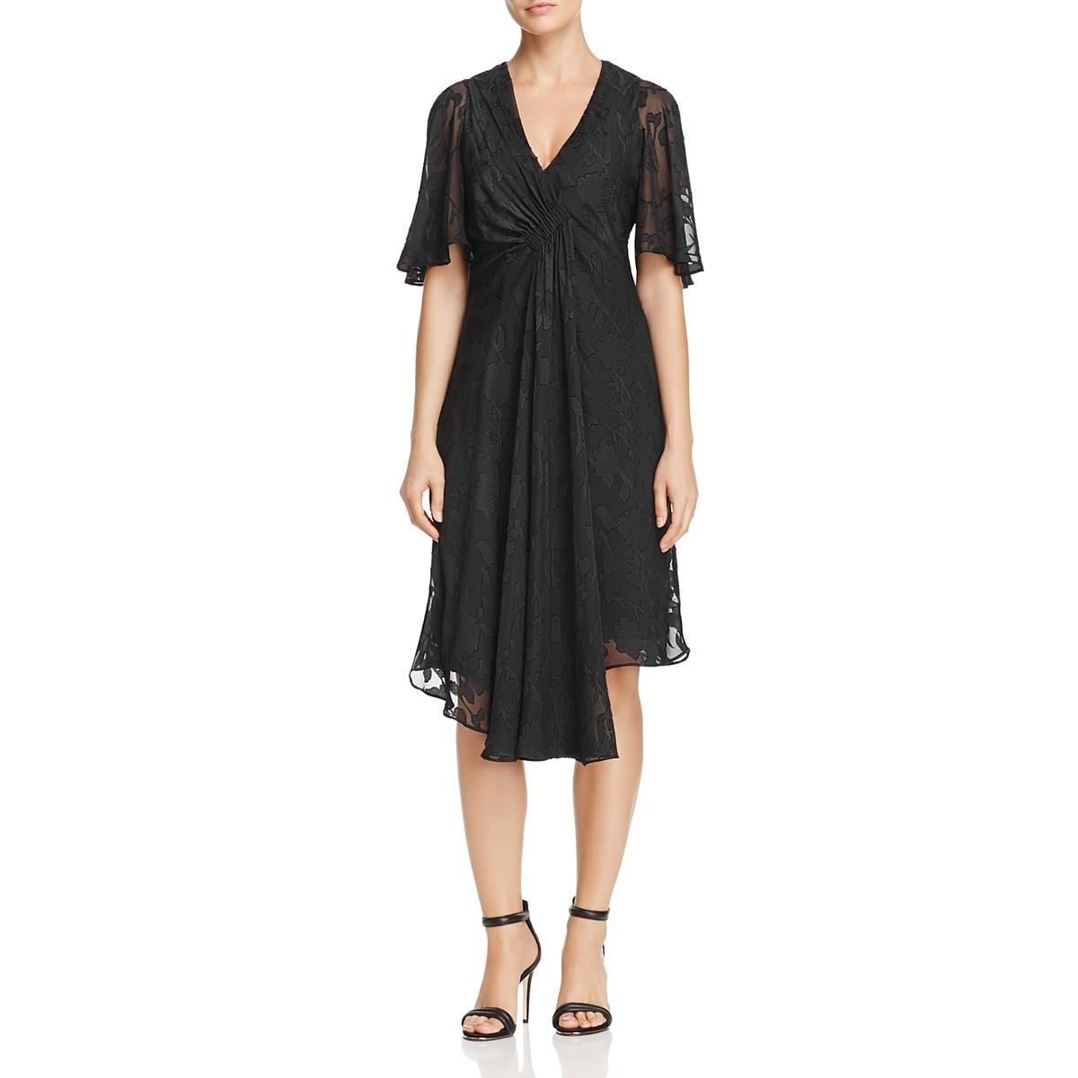 89371c228ae09 Shop Nanette Nanette Lepore Womens Cocktail Dress Jacquard Floral Sheer  Print - Free Shipping Today - Overstock.com - 26269819