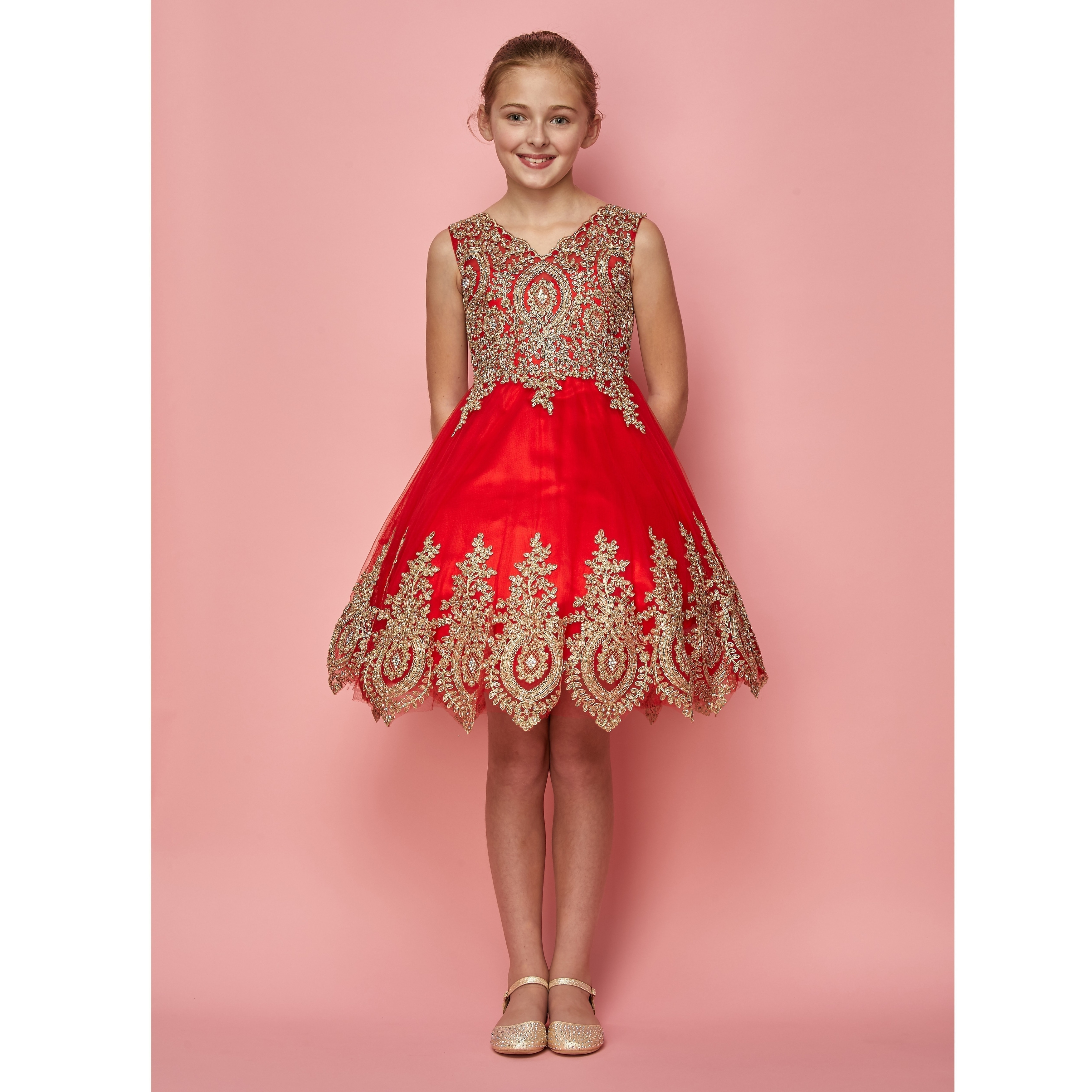 b2a32bb91 Shop Girls Red Gold Coiled Lace Mesh Elegant Junior Bridesmaid Dress 8-16 -  Free Shipping Today - Overstock - 18169690