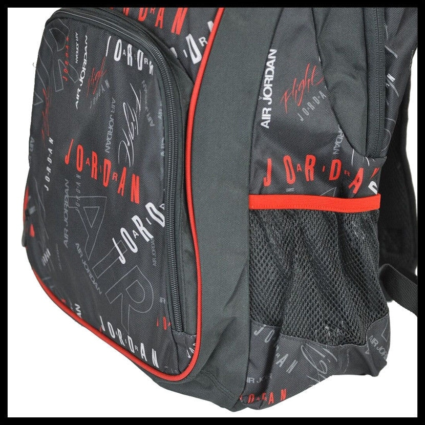 55b18bc78607 Shop Nike Air Jordan Jumpman Signature Logo Black   Red Print School  Backpack - Free Shipping Today - Overstock - 22839834