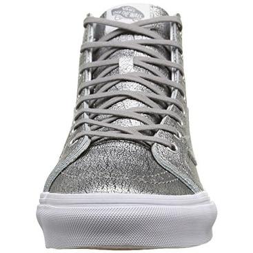 81e5090768 Shop Vans Womens Foil Metallic Sk8-Hi Slim Sneaker - silver true white -  Free Shipping On Orders Over  45 - Overstock - 18573752