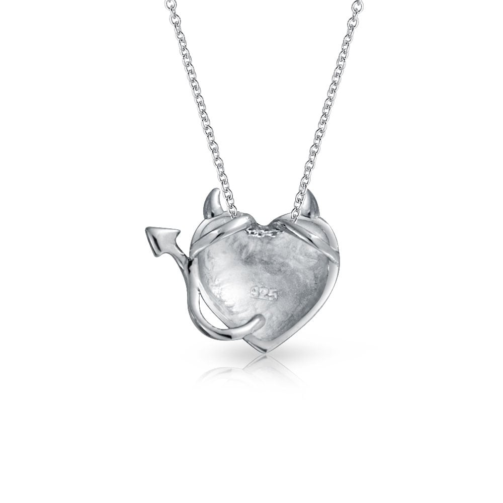 5b0f0f7b2a98 Shop Devil Horns Heart Shape Slide Pendant Necklace For women For Girlfriend  Shinny 925 Sterling Silver Necklace 16 Inches - On Sale - Free Shipping On  ...