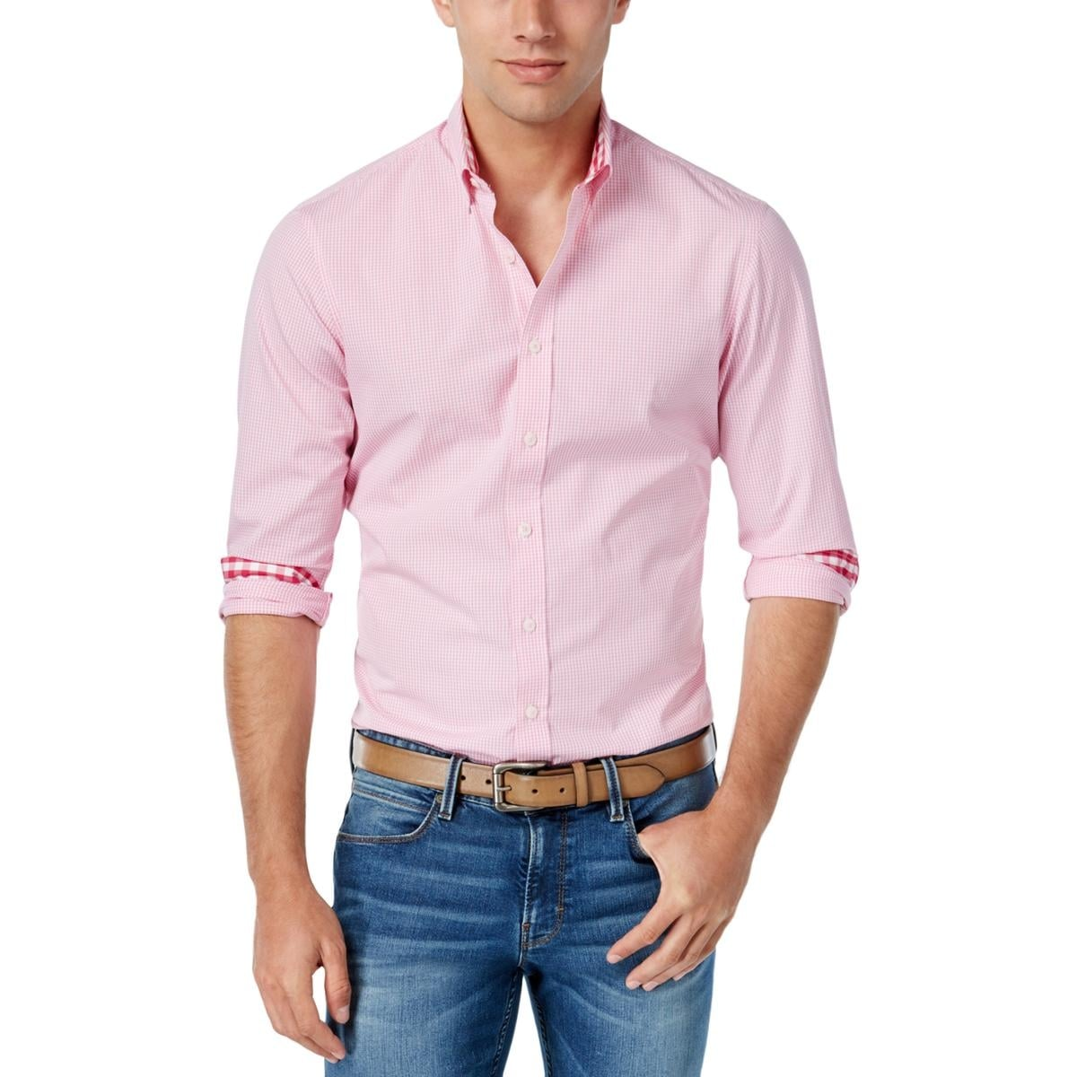 28ebb456367 Shop Park West Mens Button-Down Shirt Mini-Gingham Long Sleeves - Free  Shipping On Orders Over $45 - Overstock - 20353924