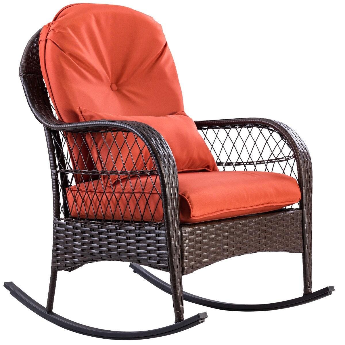 Shop Gymax Patio Rattan Wicker Rocking Chair Porch Deck Rocker