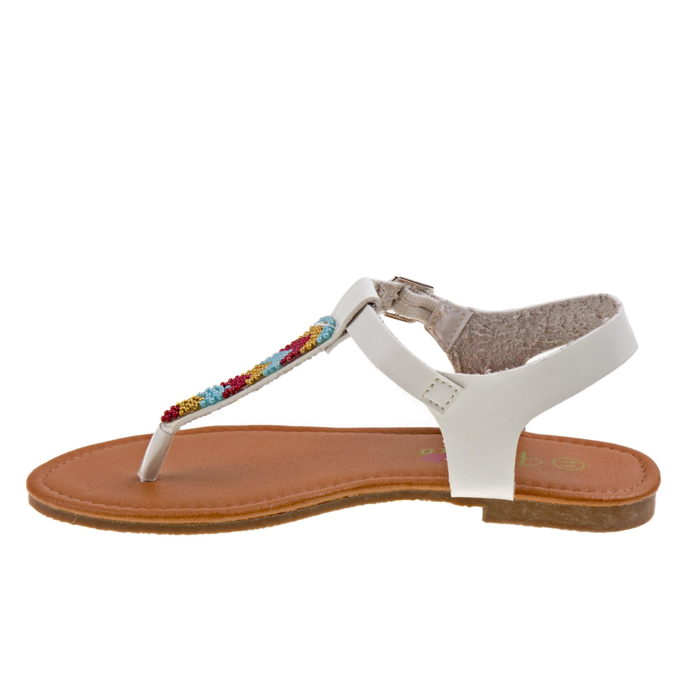 e42050dd9e10 Shop Petalia Little Girls White Multi Color Bead T-Bar Thong Sandals - Free  Shipping On Orders Over  45 - Overstock - 25723809