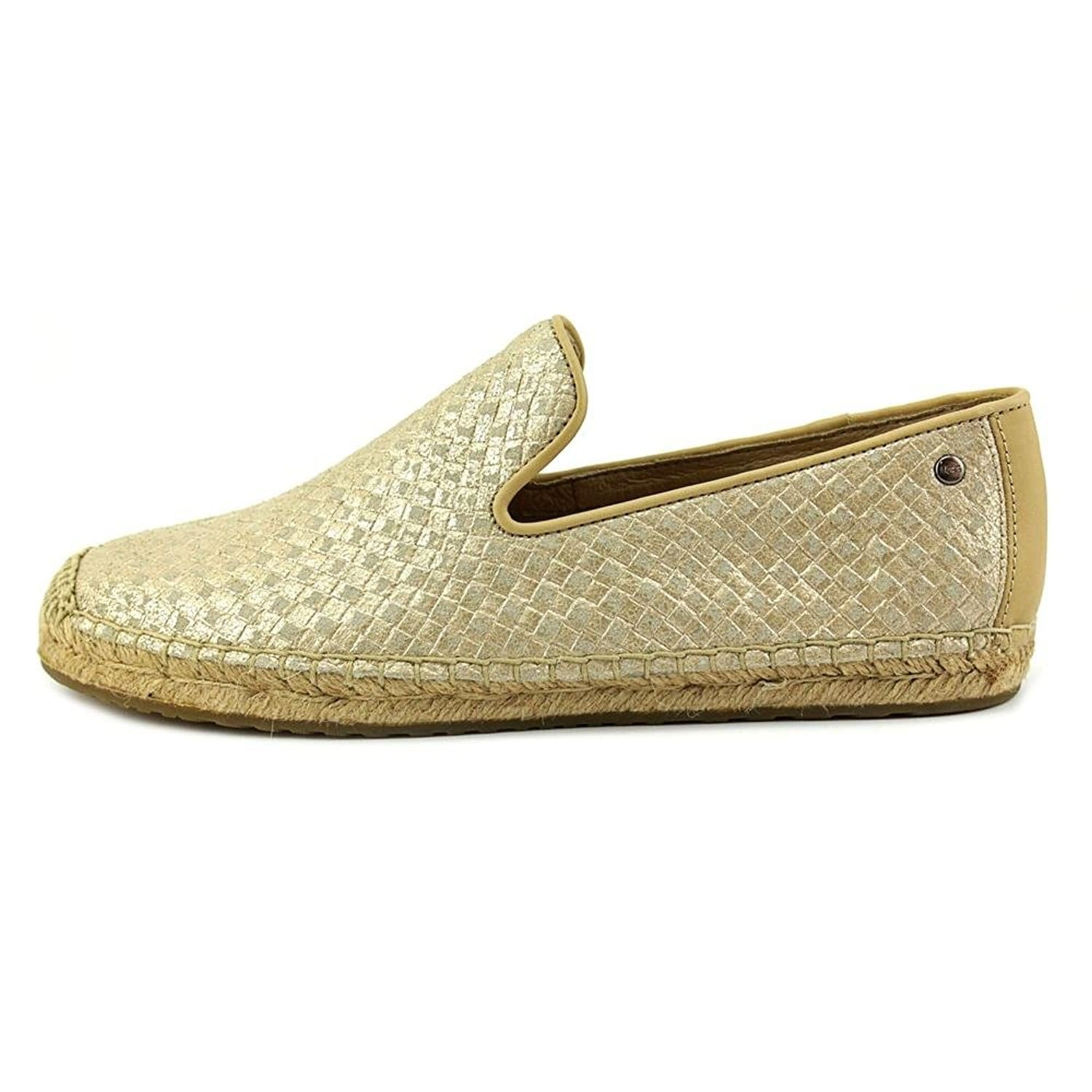 b0be901a68e UGG Womens Sandrinne Metallic Basket Espadrille, Gold, Size 9.0 - 9